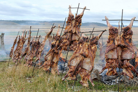 Cordero patagónico argentino a la estaca
