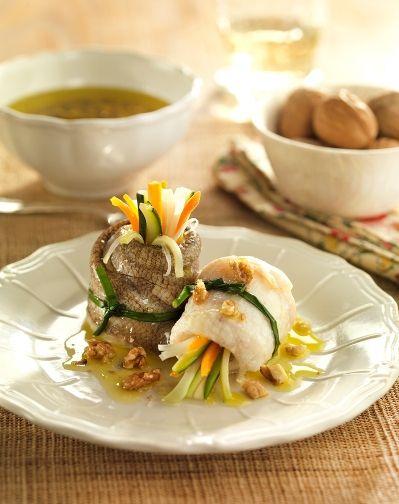 Receta de pescado a la vinagreta con nueces